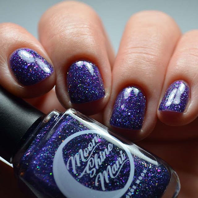 purple glitter nail polish low light swatch