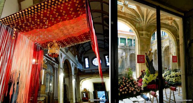 Baldaquino sobre o altar de São Gonçalo e andor de procissão em Amarante, Portugal