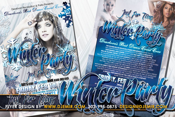 Winter Party For Teens Flyer Design Dearborn Recreation Center Snowflakes Ice White and Blue