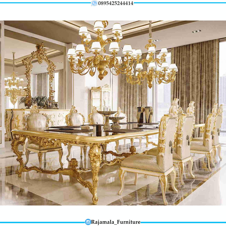 Meja Makan Mewah Luxury Carving Jepara Golden Shine Color RM-0057