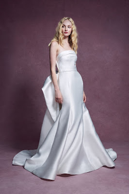 Marchesa Strapless Satin Fit and Flare Bridal Dress Detachable Train