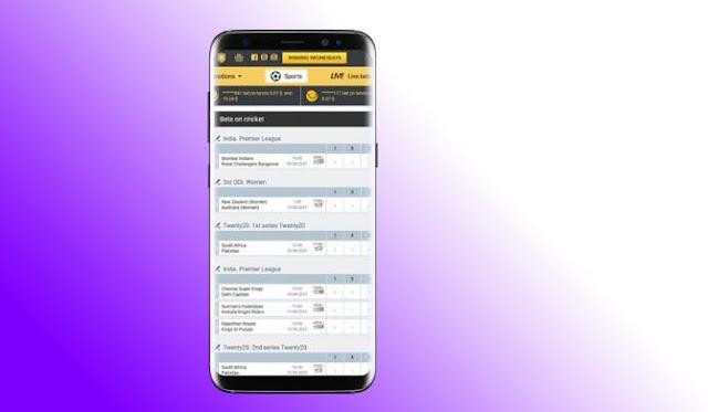 cricket bet odds apps smartphone sport betting