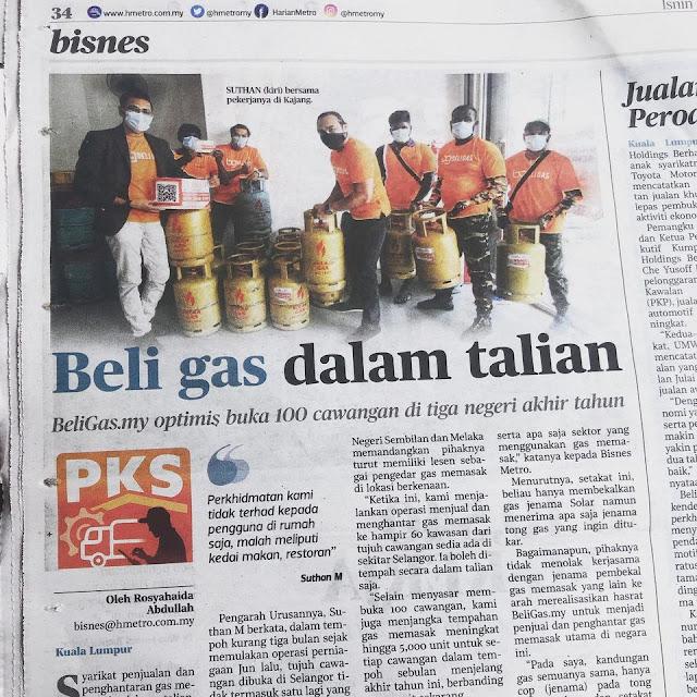 BeliGas Malaysia Tawar Perkhidmatan Beli Gas Masak Murah Secara Online