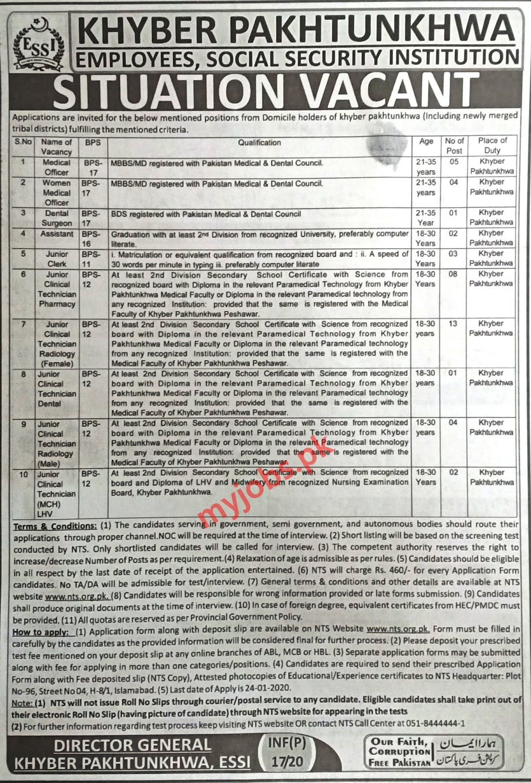 KHYBER PAKHTUNKHWA EMPLOYEES SOCIAL SECURITY INSTITUTION I JOBS 2020