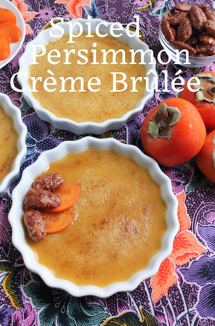 Food Lust People Love: Sweet pumpkin persimmons add a delightful flavor to this spiced persimmon crème brûlée. Top with sliced persimmons and perhaps a few candied pecans for a deliciously memorable holiday dessert.