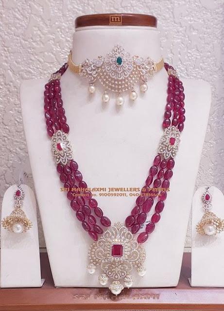 Ruby Beads Long Chain Diamond Choker