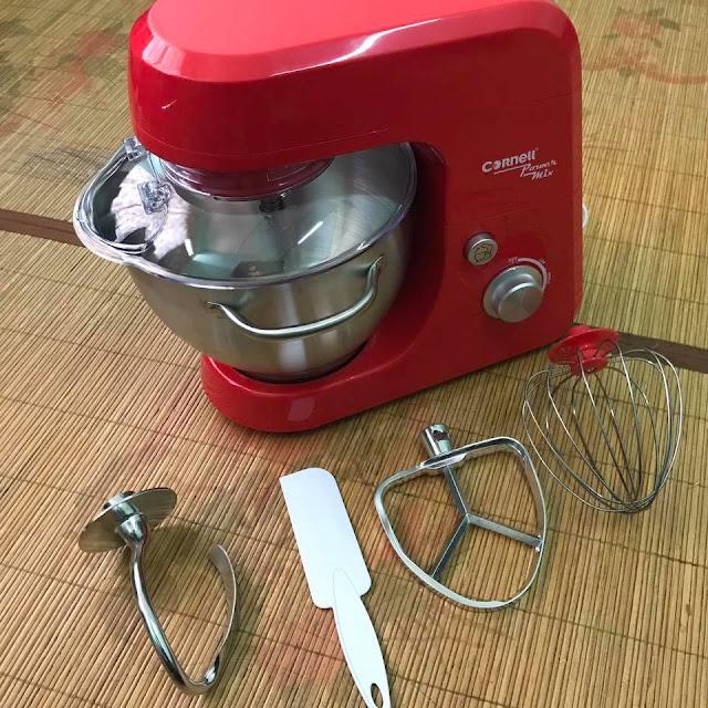 Ciri-ciri Cornell CSM-EL688SR Heavy Duty Stand Mixer Red, Cornell mixer, Alatan membuat kek, Gambar stand mixer,