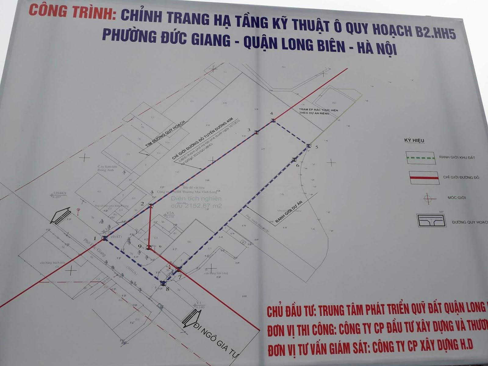 Chỉ giới đỏ đường 40m đi qua Thanh Am, Thượng Thanh, Đức Giang.