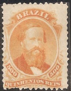 Brazil-1866- D.pedro Ii-500 Reis- Orange