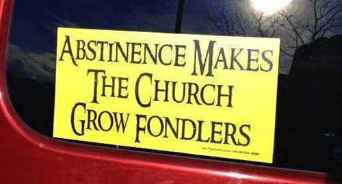Funny atheism bumper sticker - abstinence makes the church grow fondler