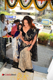 Actress Neetu Chandra Stills in Black Saree at Designer Sandhya Singh's Store Launch  0019.jpg