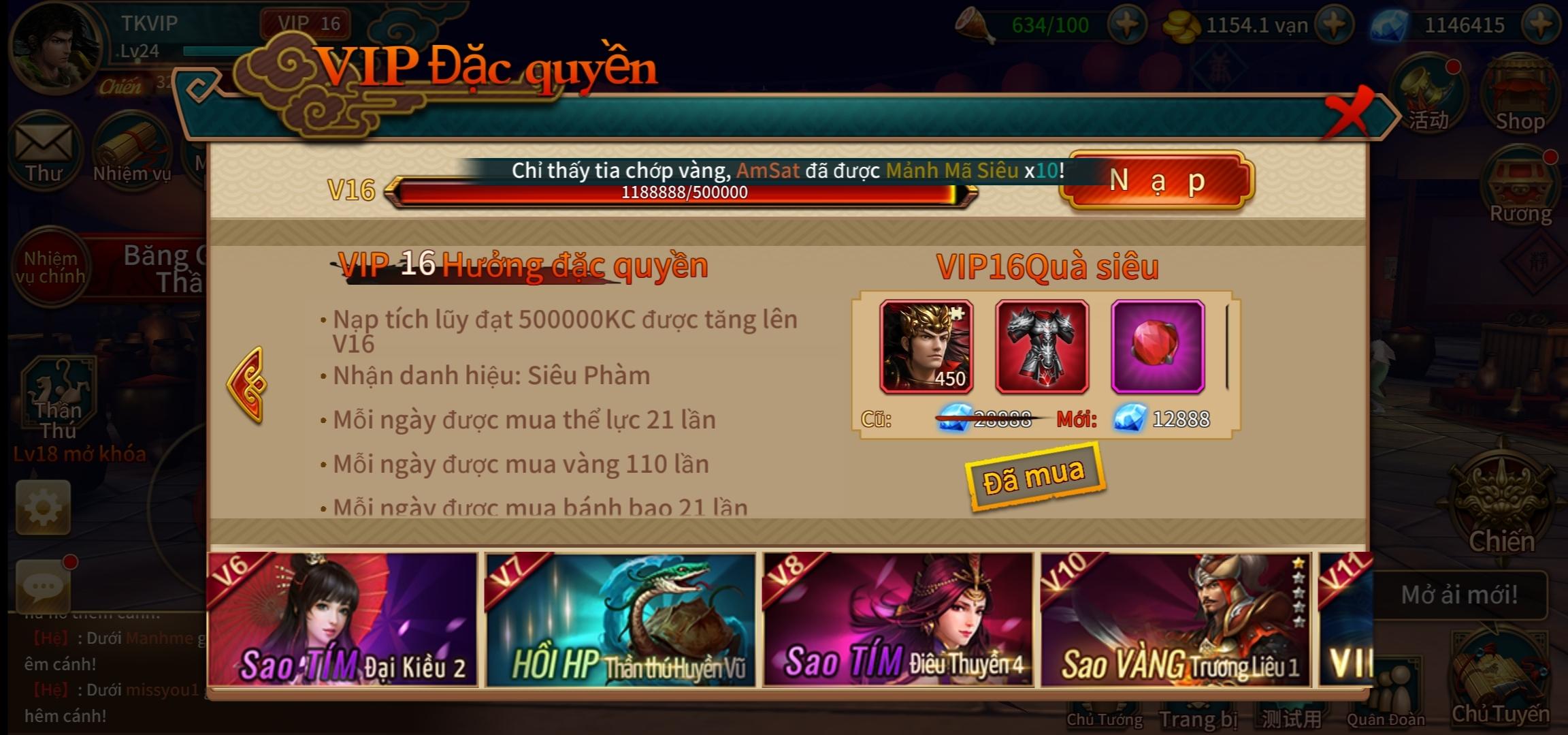 Đỉnh Phong Tam Quốc 3D Private Việt Hóa | Free Max VIP 16 | Free Tỷ Tỷ KNB | Hoạt Động Sự Kiện Nhận Quà Hấp Dẫn Kim Cương