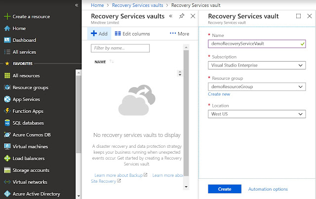 Add Recovery Services vault