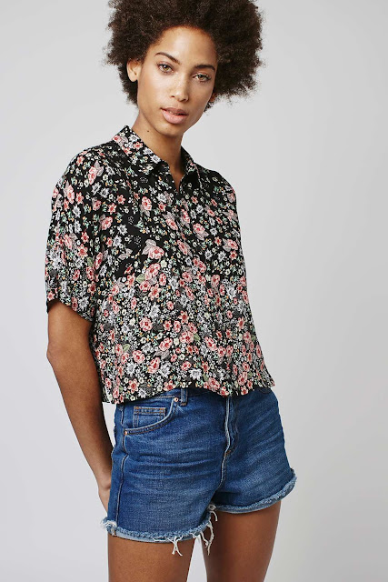 short sleeve black ditsy print shirt, topshop floral crop shirt, ditsy print crop shirt,