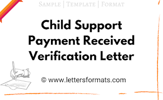 Child Support payment received Verification Letter