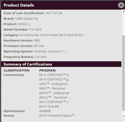 Nokia 2 WiFi Certification