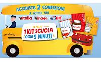 """Logo Con Nutella, Kinder, Estathè """"Vinci 1 Kit Scuola Limited Edition Ferrero ogni 5 minuti"""""""