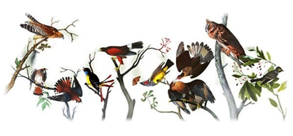very abstract Google logo made out of birds on branches