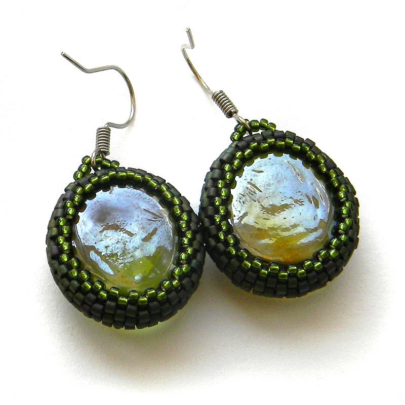 купить серьги из бисера handmade оливковые стеклянные сережки
