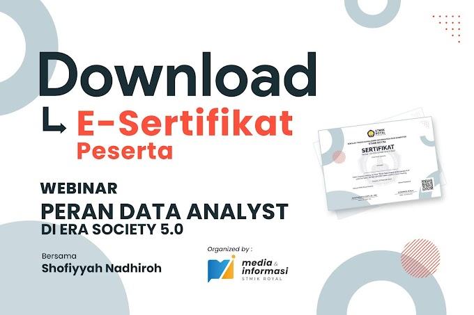 Download! E-Sertifikat Peserta Webinar Peran Data Analyst