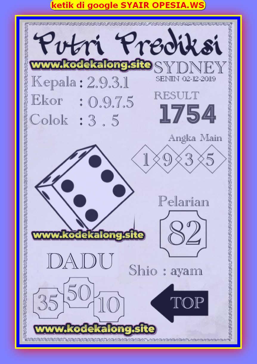 Kode syair Sydney Senin 2 Desember 2019 50