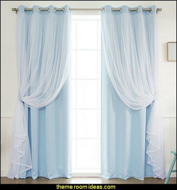 Lace Tulle Overlay Light Filtering Blackout Curtain Panel