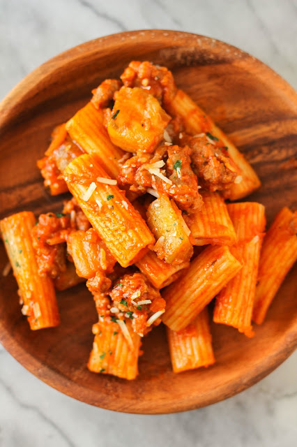 Ziti with Eggplant, Sausage and Parmesan | The Chef Next Door