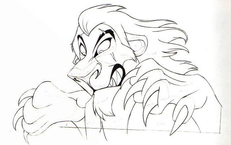 Шрам — поджарый, худощавый, гибкий, грациозный лев с тёмно-рыжей гладкой шерстью, негустой чёрной гривой, тёмными окантовками вокруг глаз, светлыми участками шерсти на морде и животе, заострённым чёрным носом и холодными изумрудными глазами.