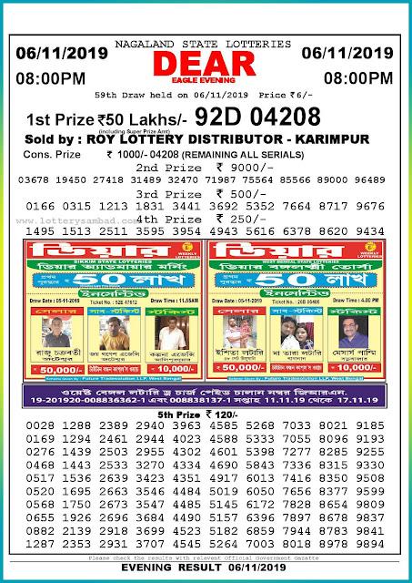 Sambad lottery 06-11-2019 Nagaland State Lottery Result 08.00 PM-lotterysambadresults.com
