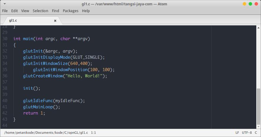 Text Editor Atom untuk Menulis Program C