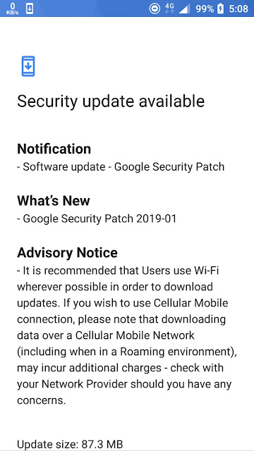 Nokia 6 January 2019 Android Security patch