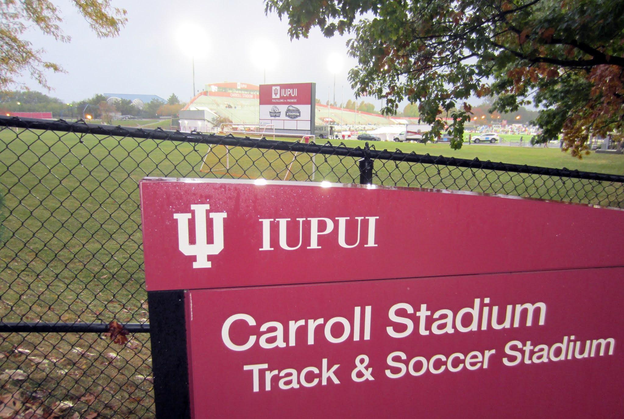 IUPUI campus sign outside Carroll Stadium