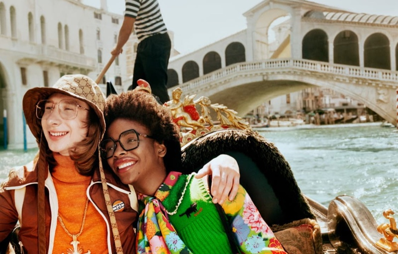 Models pose in Venice for Gucci Eyewear spring-summer 2021 campaign.