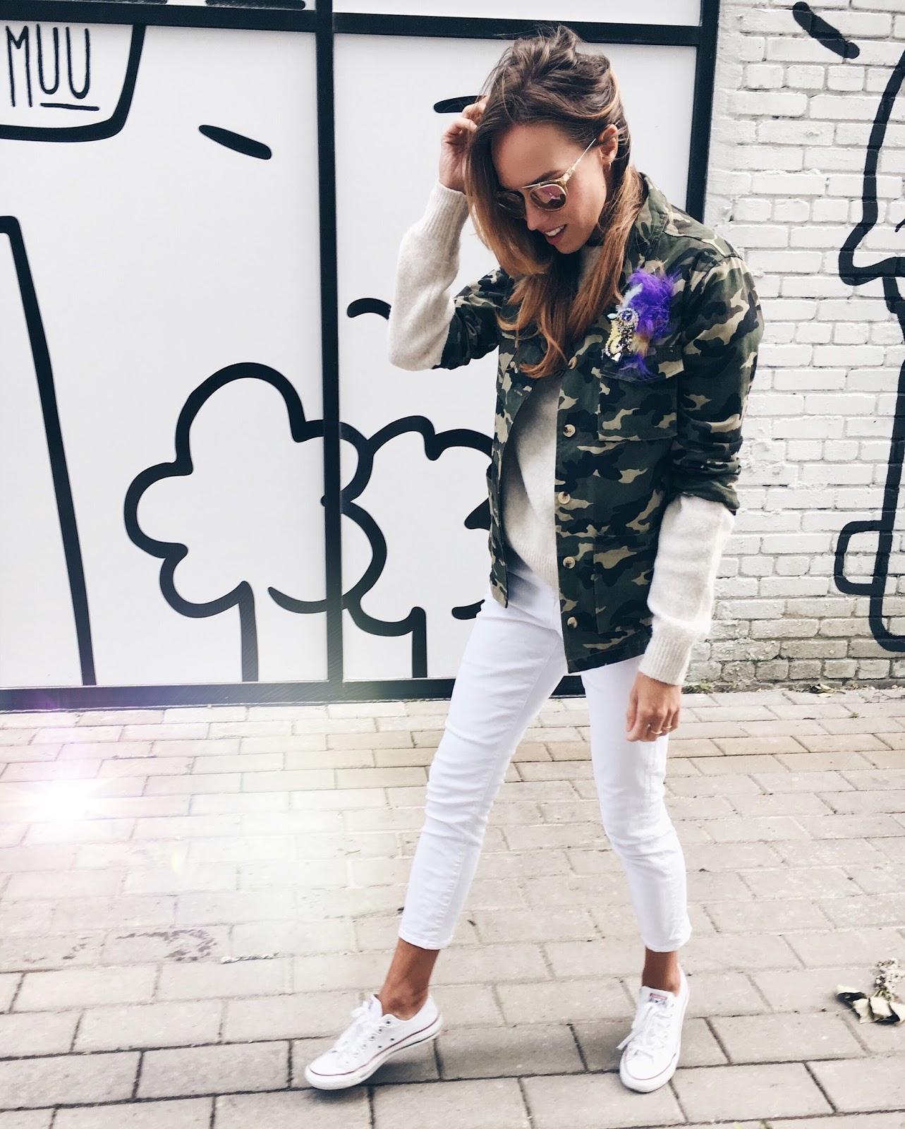 kristjaana camo jacket outfit minimal