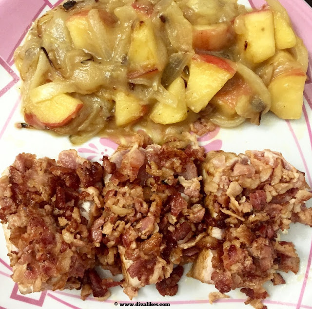 Roasted Applewood Bacon Pork With Apples & Onions