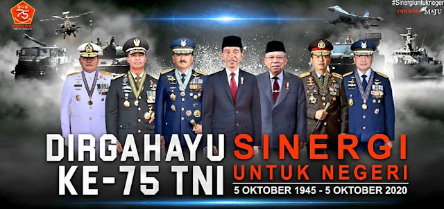 spanduk resmi HUT TNI RI ke 75 Tahun 2020 terbaru
