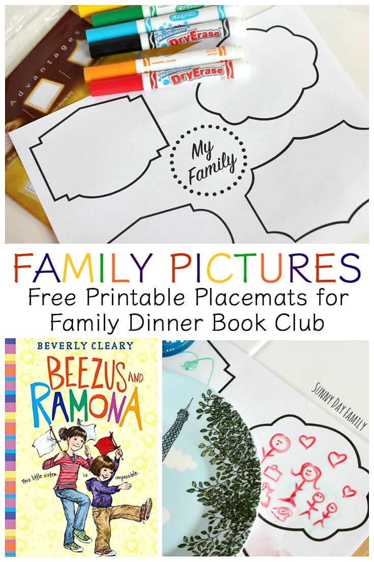Draw your family pictures on these super cute laminated placemats for kids! Inspired by Beezus and Ramona, this table craft is perfect for family dinners and a great way to share family memories.
