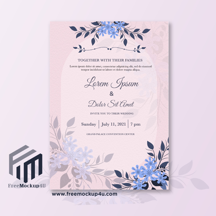 Minimalist Wedding Invitation With Light Blue Flower