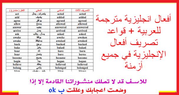 أفعال انجليزية مترجمة للعربية