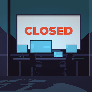 "Graphic shows a computer lab and a large screen with the word ""closed' across it"