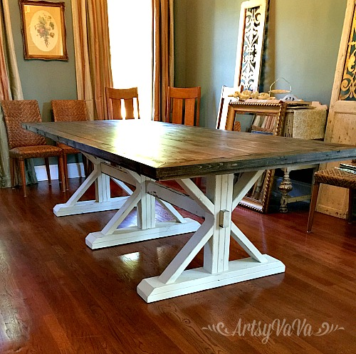 Artsy vava farmhouse table two for Farm table seats 12