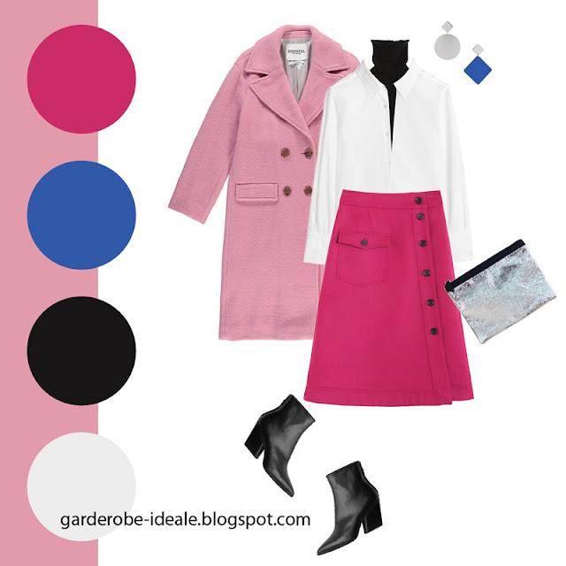 Юбка цвета фуксии с крупным карманом с белой рубашкой и водолазкой
