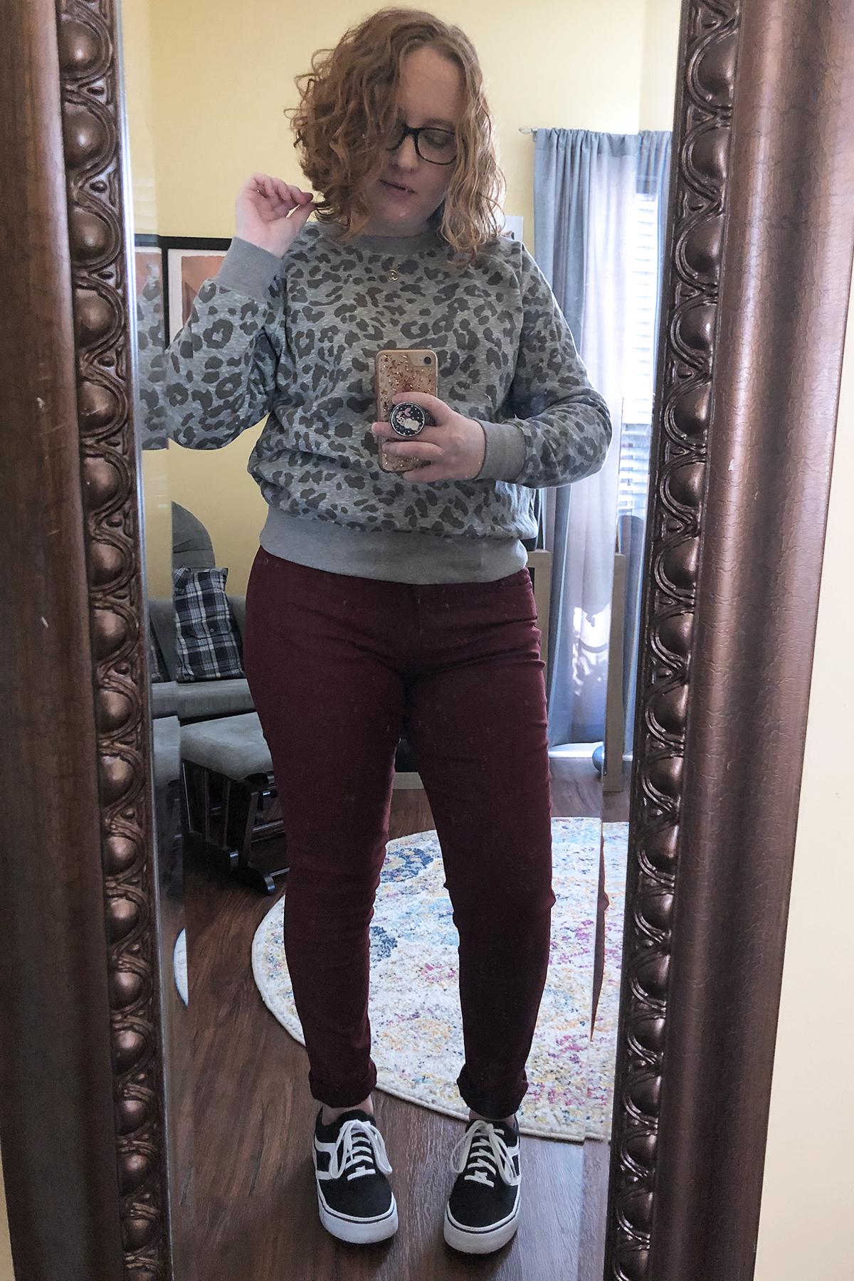 maroon pants grey leopard sweatshirt