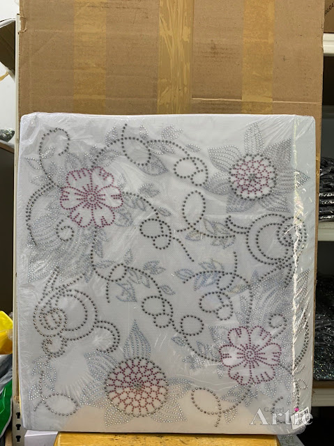 Hotfix stickers dmc rhinestone aplikasi tudung bawal fabrik pakaian 2 bunga raya silver maroon hitam
