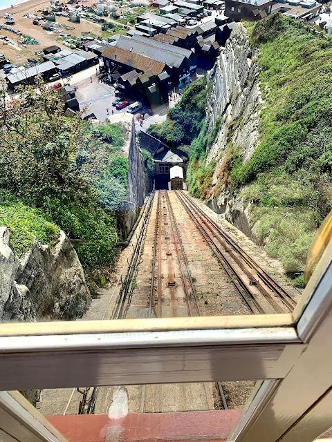View from carriage at East Cliff funicular railway, Hastings