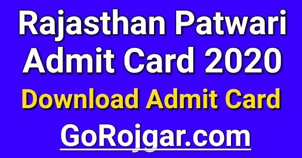 Rajasthan Patwari Admit Card 2021 Download Name Wise