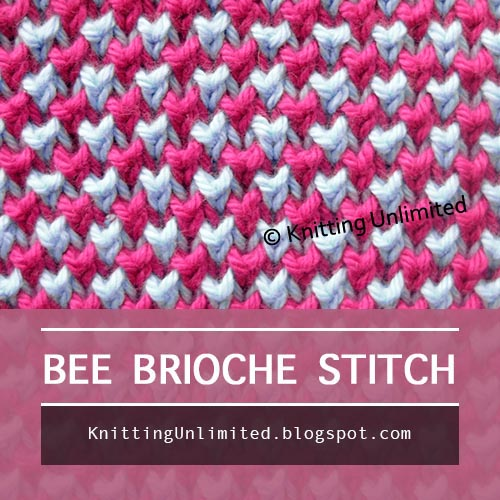 Brioche Knitting, Knit 1 below: 2 color Bee stitch