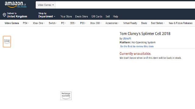 Splinter Cell para este año según Amazon