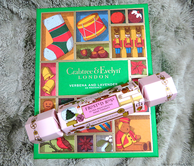 crabtree & evelyn Verbena & Lavender de Provence Bath & Body Gift and frosted rose hand therapy cracker