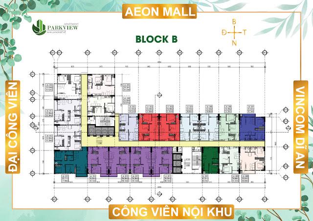 Mặt bằng Block B dự án Parkview Apartment Thuận An Bình Dương